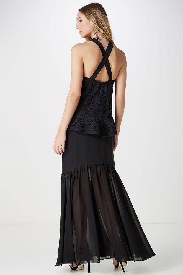 8f46043e5908 Vestido Longo Renda Babado - Off Premium