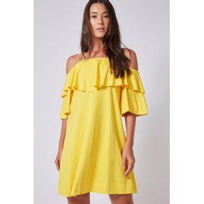 Vestido Ombro a Ombro Bordados Amarelo Daiquiri