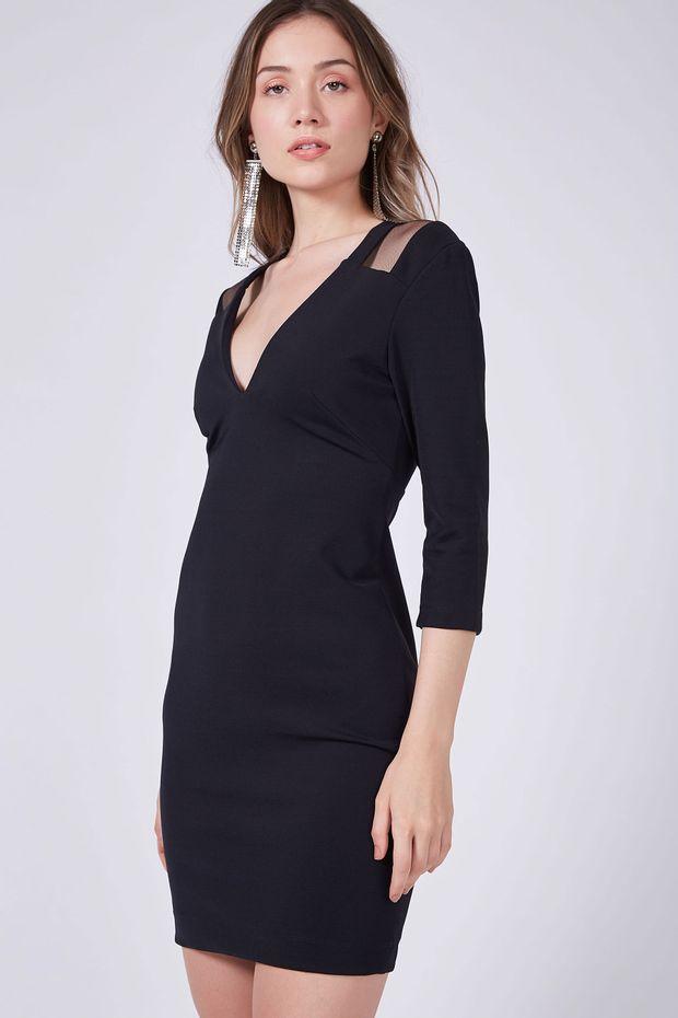 7d781f77e Vestido Recortes Tule Liso - Off Premium