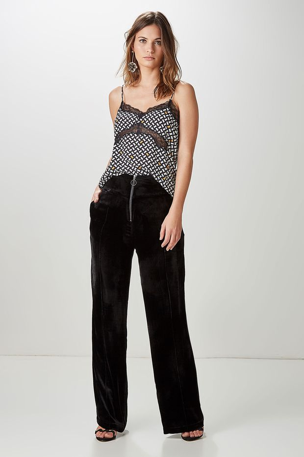 Calça Pantalona Veludo Zíper - Off Premium 3fd29fb21dd