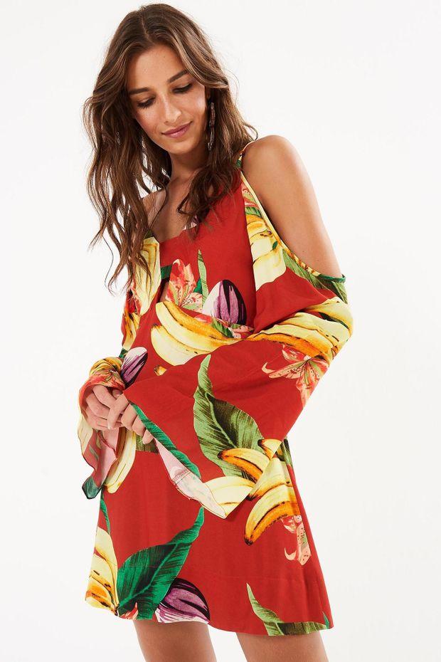 f80341a26 Vestido Curto Chita De Banana - Off Premium