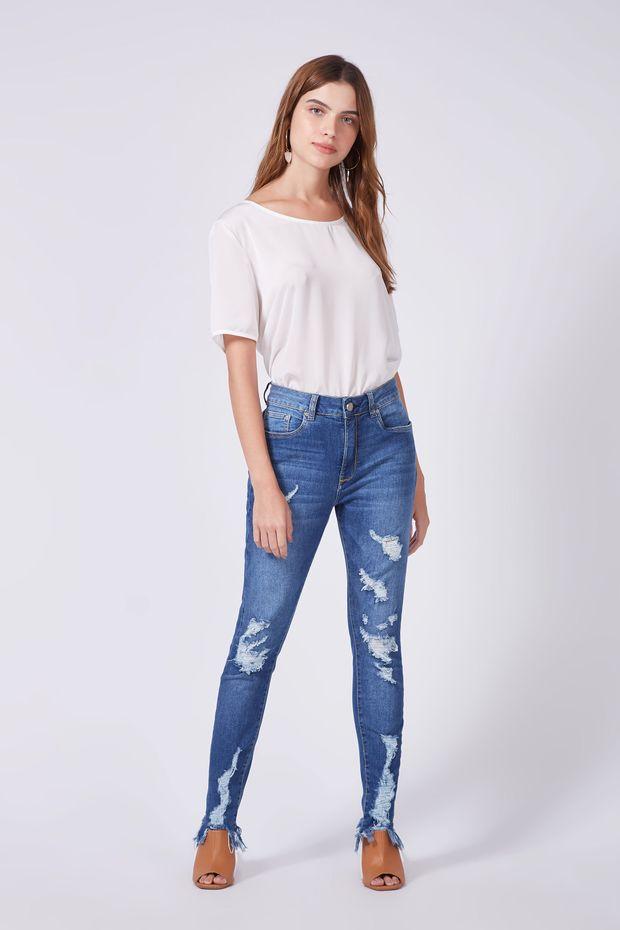 4651376bdd Calça Denim Skinny Jolie Rasgo - Off Premium