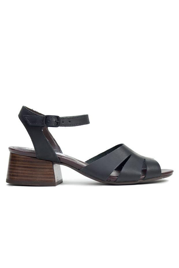 501380ad52 Sandália de couro de salto Abila Preto - Off Premium
