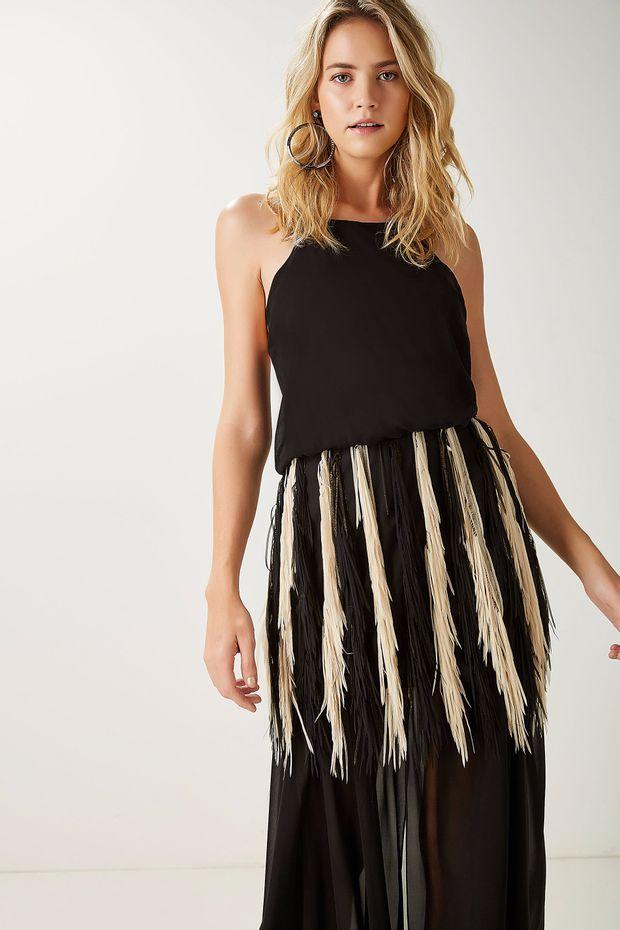 Vestido Seda Pala Franja - Off Premium e0215cd341259