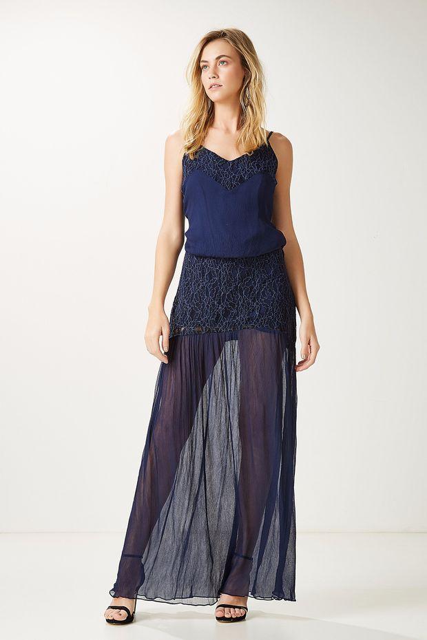 Vestido Seda Pala Renda - Off Premium b449edec780b9