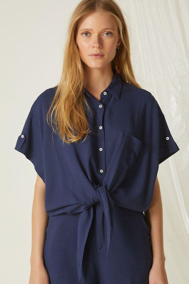 dbe0018c6d Camisa Linho Frente Nó - Off Premium