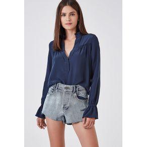 Short Jeans Cós Alfaiataria Clear Azul Denim Medio