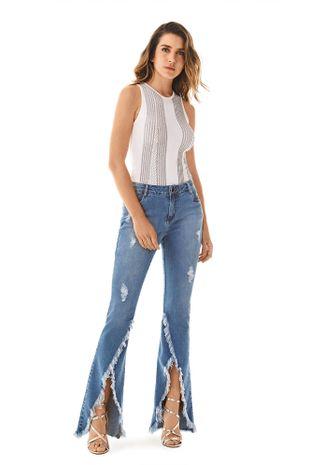 45ee71154 Calca Boot Cut Carol Cos Intermediario Barra Diferenciada Jeans