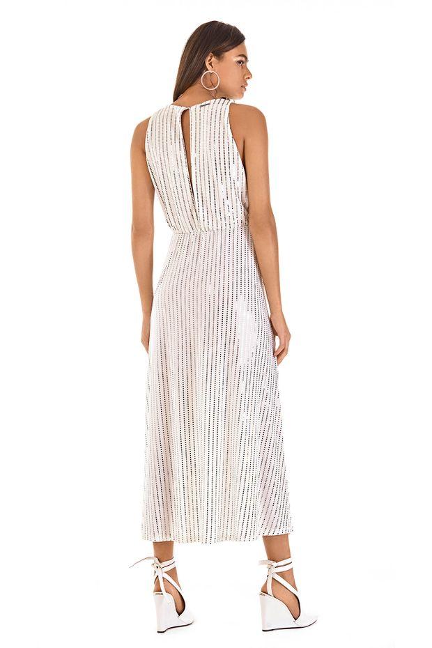 Vestido Midi Decote V Abertura Costas Off White Off Premium