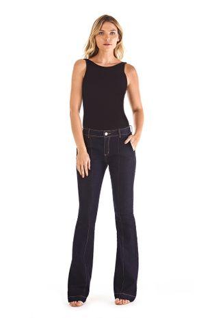 5af7616f2 Calca Boot Cut Carol Cos Intermediario Com Nervuras Jeans