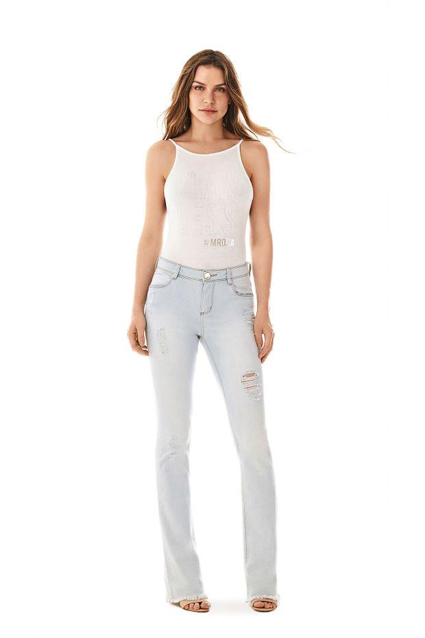 550c1b8fe Calca Boot Cut Carol Cos Intermediario Delave Jeans - Off Premium