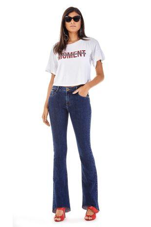 fe107eae8 Calca Boot Cut Carol Cos Intermediario Escura Jeans
