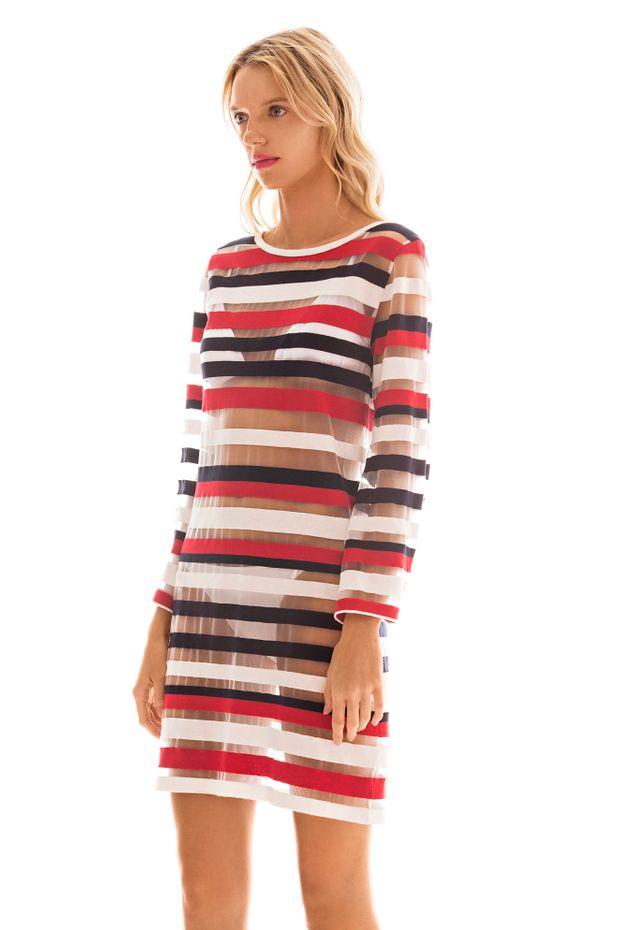 0bb1351d6 Vestido Curto Com Listras Transparente Azul Vermelho - Off Premium