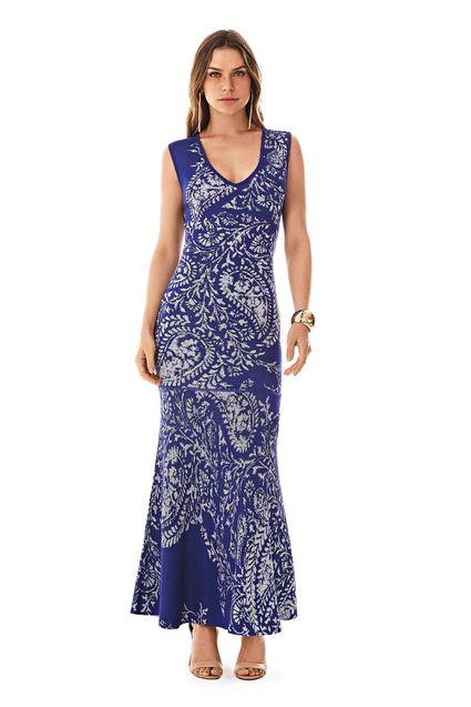 0770e28261 Vestido Longo Decote V Abertura Costas Azul