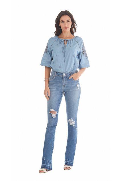8eb63ae38e Blusa Decote Redondo Manga Curta Bordada Jeans