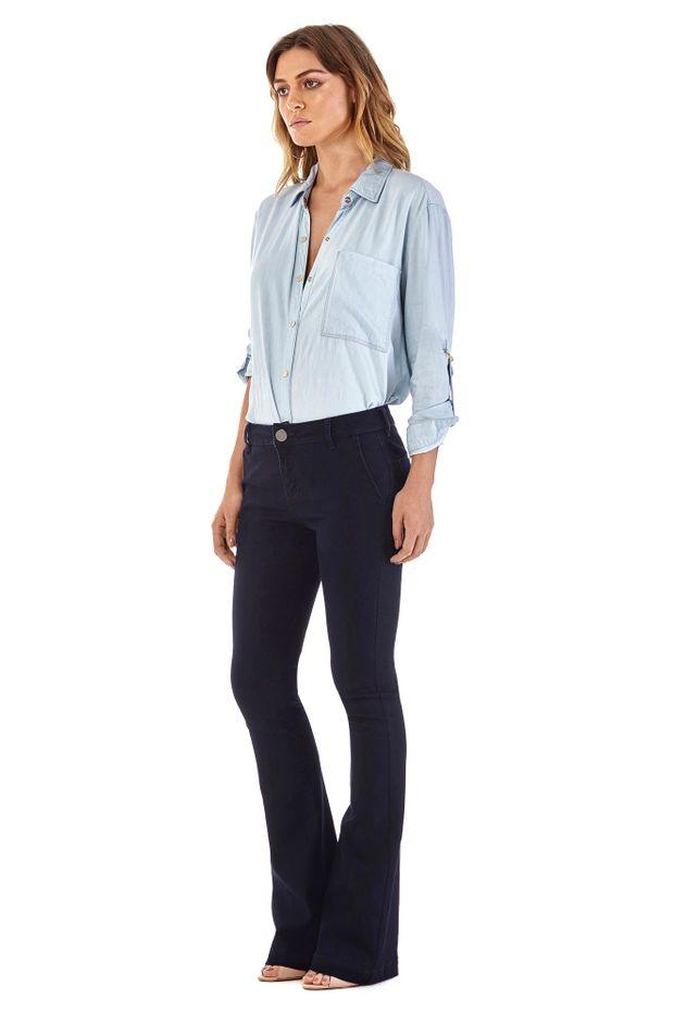b179212b3cc997 Calca Boot Cut Carol Cos Intermediario Bolso Faca Jeans - Off Premium