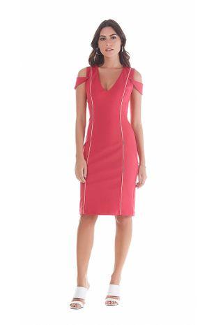745540031c Vestido Curto Decote V Detalhe Vies Rosa