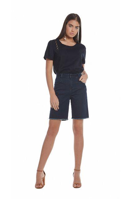 d028f5bcb Bermuda Jeans C/ Detalhe Ilhos Jeans