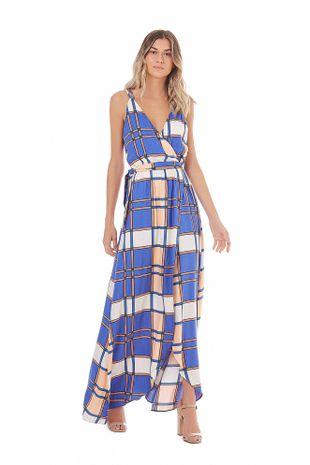 befd95290 Vestido Longo Decote Redondo Elastico Cintura Azul