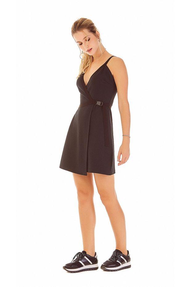 e0a701a1e Vestido Curto Decote V Transpasse Frente Preto - Off Premium