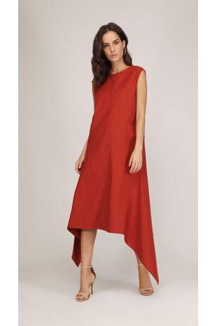 2da93ca6968b Vestido Midi Decote Redondo Com Bolso Vermelho