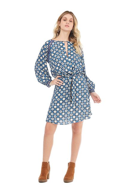 5581977801ea Vestido Curto Decote Redondo Detalhe Galao Azul