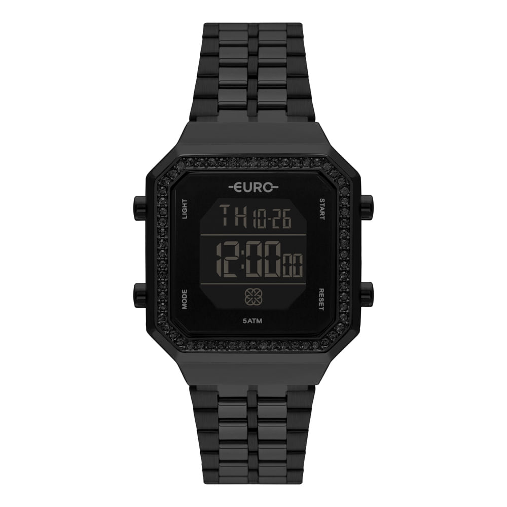 Relógio Euro Feminino Fashion Fit Diamond Preto EUBJK032AC/4P EUBJK032AC/4P