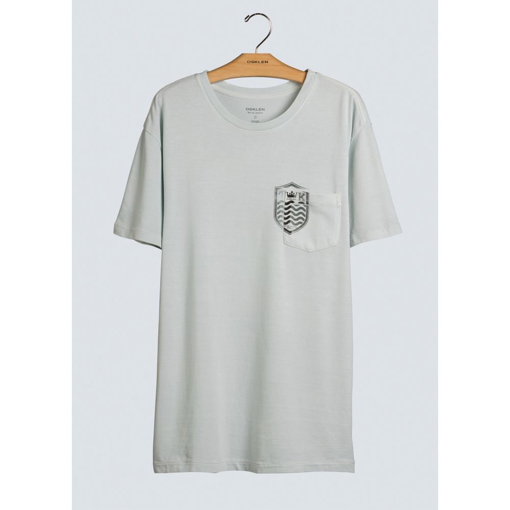 T-Shirt Bolso Brasao Mc-Azul Claro - P