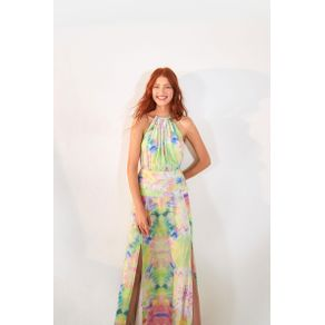 Vestido Longo Mistura De Cor Est Mistura De Cor_Multicolorido