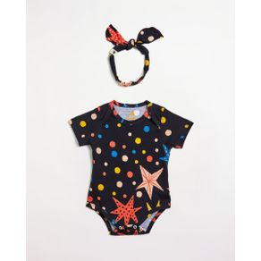 Kit Body Faixa Bebe Malha Cosmica Est Cosmica Preto - PP