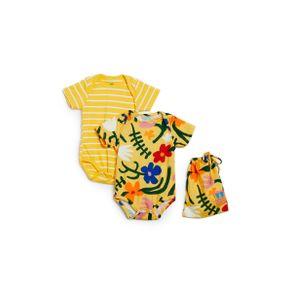 Kit Body Estampa e Listra Jojo Est Jojo Amarelo - M